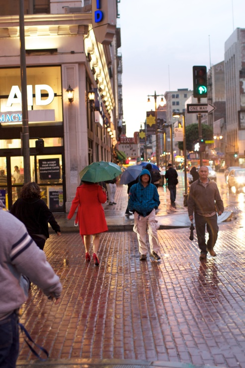 The rainy streets of Los Angeles