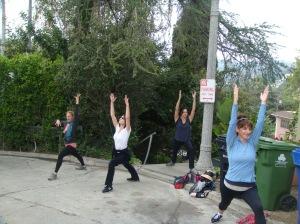 Yoga poses in a cul de sac