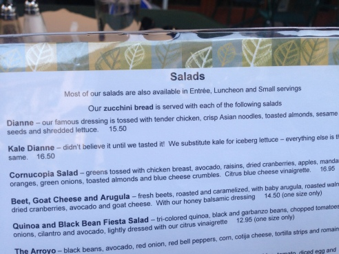 Menu and ingredients in the Diane Salad @Green Street Cafe, Pasadena